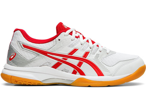 Asics Gel Rocket 9 Women's Indoor Court Shoe (White/Classic Red) - RacquetGuys