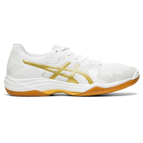 Asics Gel Tactic Women's Indoor Court Shoe (White/Rich Gold) - RacquetGuys.ca