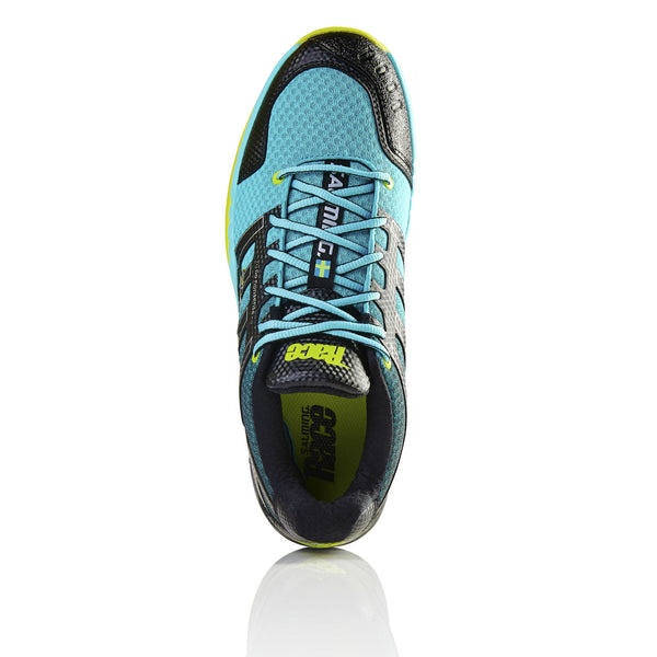 Salming Race X Mens Indoor Court Shoe (Turquoise/Black) - RacquetGuys