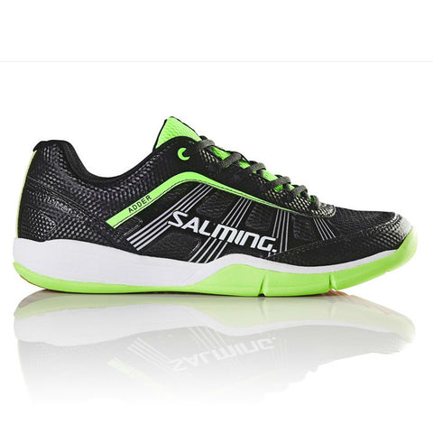 Salming Adder Junior Indoor Court Shoe (Black/Green) - RacquetGuys.ca