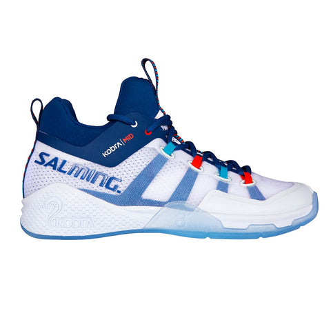 Salming Kobra Mid 2 Mens Indoor Court Shoe (White/Limoges blue)