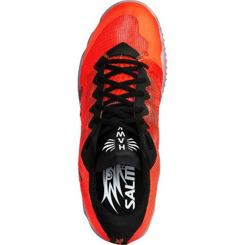Salming Hawk Mens Indoor Court Shoe (Black/Lava Red) - RacquetGuys