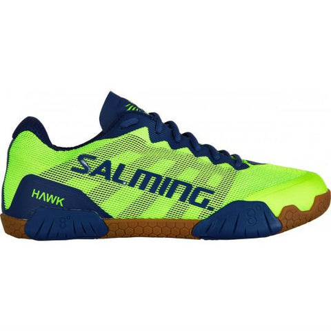 Salming Hawk Men's Indoor Court Shoe (Fluo Green/Limoges Blue) - RacquetGuys.ca