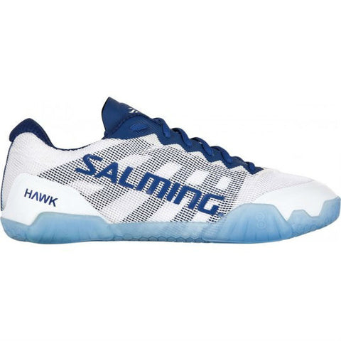 Salming Hawk Womens Indoor Court Shoe (White/navy blue) - RacquetGuys.ca