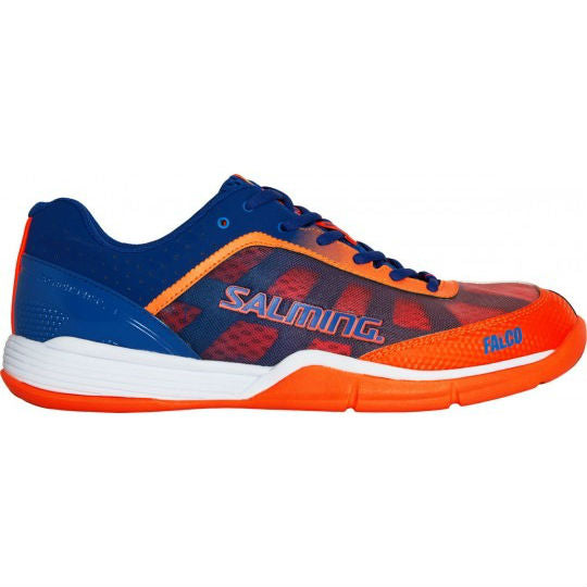Salming Falco Mens Indoor Court Shoe (Limoges blue/Orange Flame) - RacquetGuys