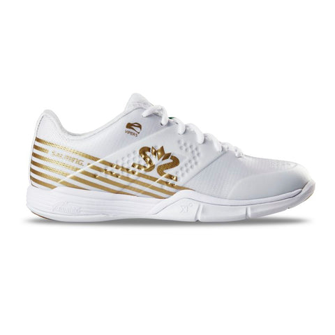 Salming Viper 5 Women's Indoor Court Shoe (White/Gold) - RacquetGuys