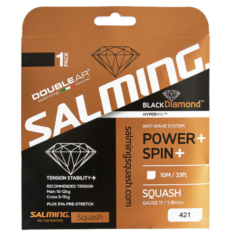 Salming Black Diamond 17 Squash String (Black) - RacquetGuys