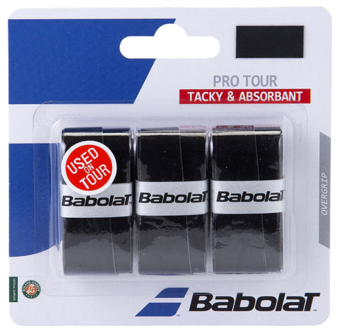 Babolat Pro Tour Overgrip 3 Pack (Black) - RacquetGuys