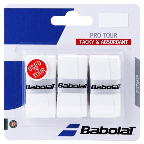 Babolat Pro Tour Overgrip 3 Pack (White) - RacquetGuys.ca