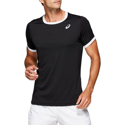 Asics Men's Club Short Sleeve Top (Black) - RacquetGuys.ca