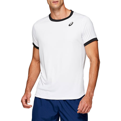 Asics Men's Club Short Sleeve Top (White) - RacquetGuys.ca
