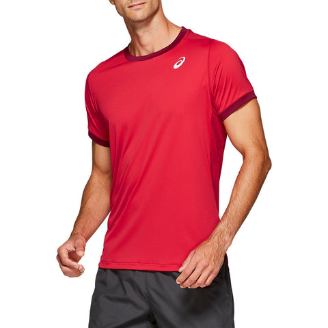 Asics Men's Club Short Sleeve Top (Red) - RacquetGuys