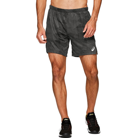 Asics Men's Club Graphic Shorts (Grey/Black) - RacquetGuys