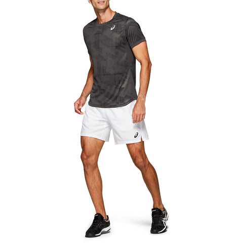Asics Men's Club Graphic Short Sleeve Top (Grey/Black) - RacquetGuys