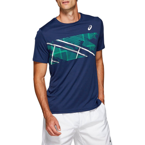 Asics Men's Practice Graphic Short Sleeve (Blue) - RacquetGuys