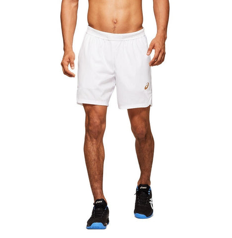 "Asics Men's Club 7"" Shorts (White) - RacquetGuys.ca"