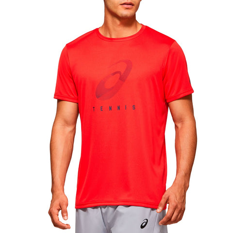 Asics Men's Practice Spiral Graphic Top (Red) - RacquetGuys.ca
