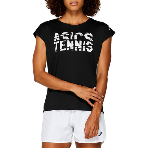 Asics Women's Practice Graphic Short Sleeve (Black/White) - RacquetGuys
