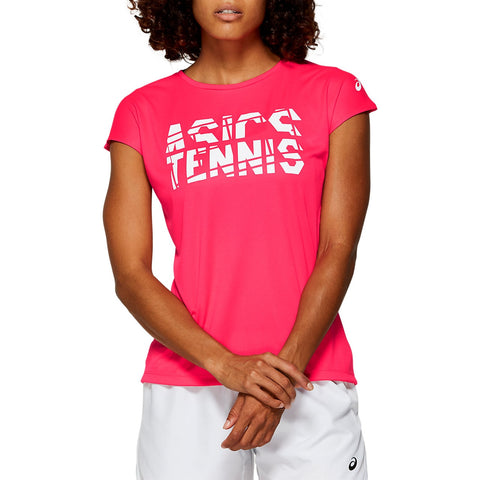Asics Women's Practice Graphic Short Sleeve (Laser Pink) - RacquetGuys