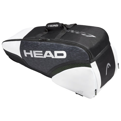 Head Djokovic Combi 6 Pack Racquet Bag (Black/White) - RacquetGuys.ca