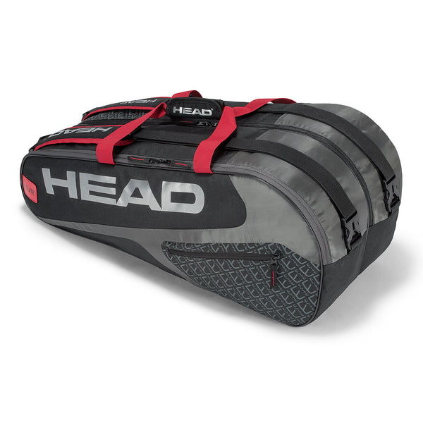 Head Elite Supercombi 9 Pack Racquet Bag (Grey/Red) - RacquetGuys