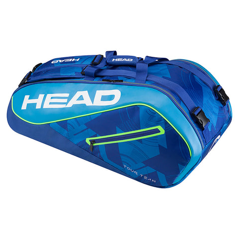 head tennis racquet bag holds 9 racquets in blue