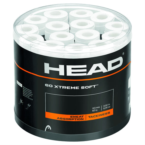 Head Xtreme Soft Overgrips 60 Pack Jar (White)