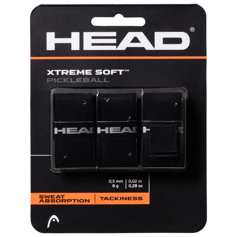 Head Xtreme Soft Pickleball Overgrip 3 Pack (Black) - RacquetGuys