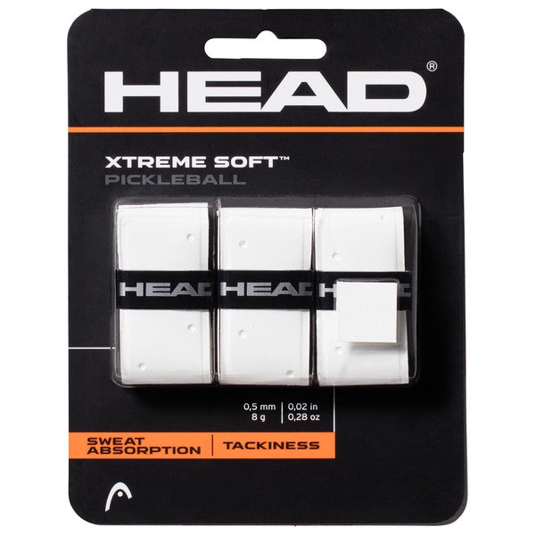 Head Xtreme Soft Pickleball Overgrip 3 Pack (White) - RacquetGuys