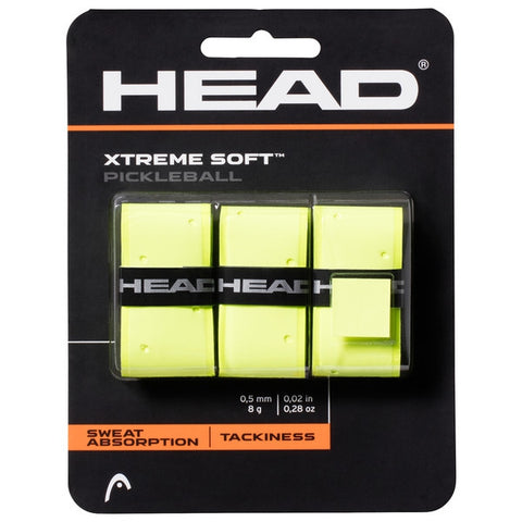 Head Xtreme Soft Pickleball Overgrip 3 Pack (Yellow) - RacquetGuys