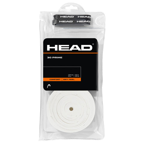 HEAD Prime Overgrips 30 Pack (White) - RacquetGuys