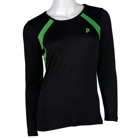 Prince Womens Long Sleeve Top (Black) - RacquetGuys