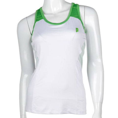 Prince Womens Racerback Tank Top (White/Green) - RacquetGuys