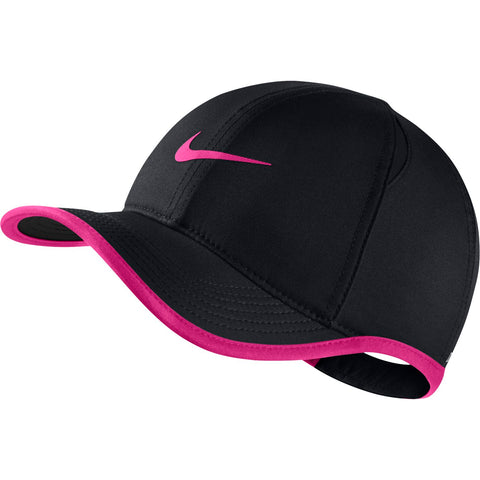 Nike AeroBill Featherlight Junior Hat (Black/Fuchsia) - RacquetGuys