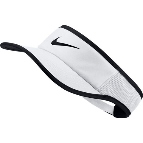 Nike Aerobill Featherlight Tennis Visor (White/Black) - RacquetGuys