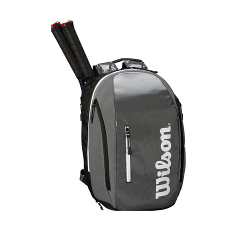Wilson Super Tour Backpack Racquet Bag (Grey/Black) - RacquetGuys