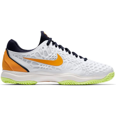 Nike Zoom Cage 3 Men's Tennis Shoe (White/Orange/Blue) - RacquetGuys