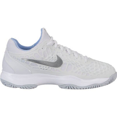 Nike Zoom Cage 3 Women's Tennis Shoe (White/Silver)