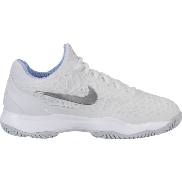 Nike Zoom Cage 3 Women's Tennis Shoe (White/Silver) - RacquetGuys