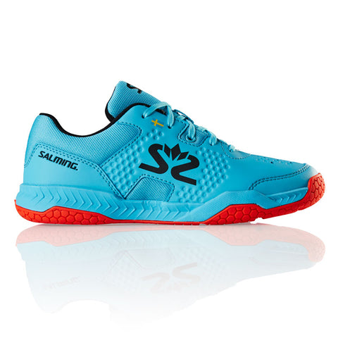 Salming Hawk Court Junior Indoor Court Shoe (Blue Atol/Flame Red) - RacquetGuys
