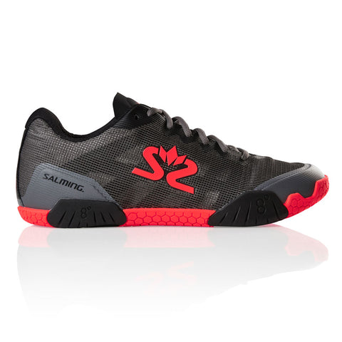 Salming Hawk Men's Indoor Court Shoe (Gun Metal/Lava Red) - RacquetGuys.ca