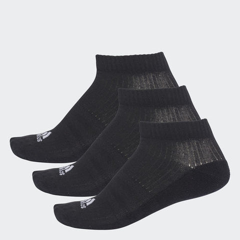 adidas Unisex 3 Stripes Performance No-Show Socks 3 Pack (Black) - RacquetGuys