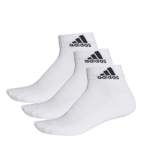 adidas Unisex 3 Stripes Performance Ankle Socks 3 Pack (White)