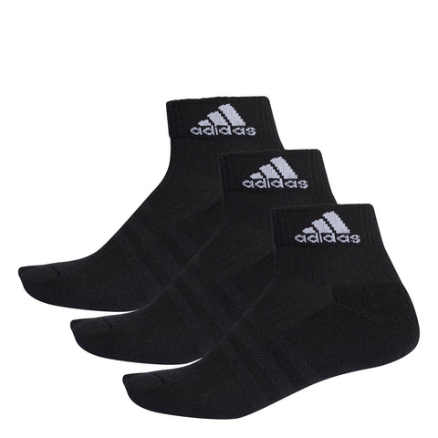 adidas Unisex 3 Stripes Performance Ankle Socks 3 Pack (Black) - RacquetGuys