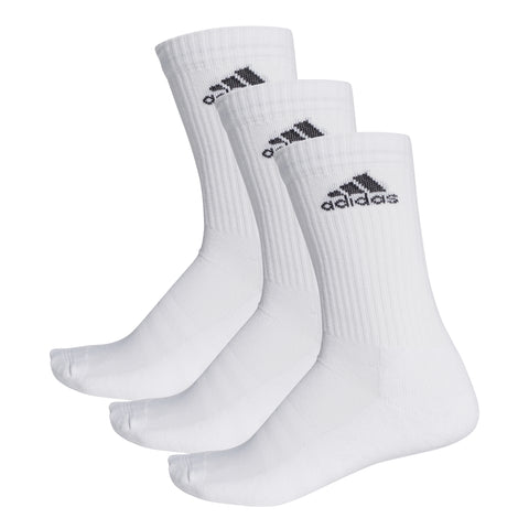 adidas Unisex 3 Stripes Performance Top Socks 3 Pack (White)