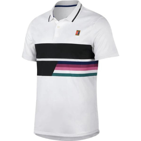 Nike Men's Advantage Polo (White/Black) - RacquetGuys