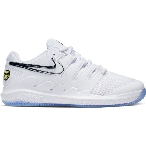 Nike Vapor X Junior Tennis Shoe (White/Light Blue) - RacquetGuys