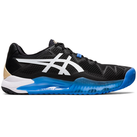 Asics Gel Resolution 8 Men's Tennis Shoe (Black/White) - RacquetGuys