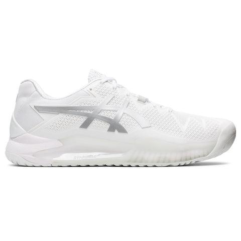 Asics Gel Resolution 8 Women's Tennis Shoe (White/Pure Silver) - RacquetGuys