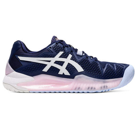 Asics Gel Resolution 8 Women's Clay Court Tennis Shoe (Peacot/White) - RacquetGuys